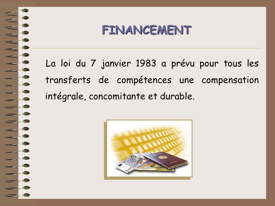FINANCEMENT La loi du 7 janvier 1983 a prévu pour tous les transferts de compétences une compensation intégrale, concomitante et durable.
