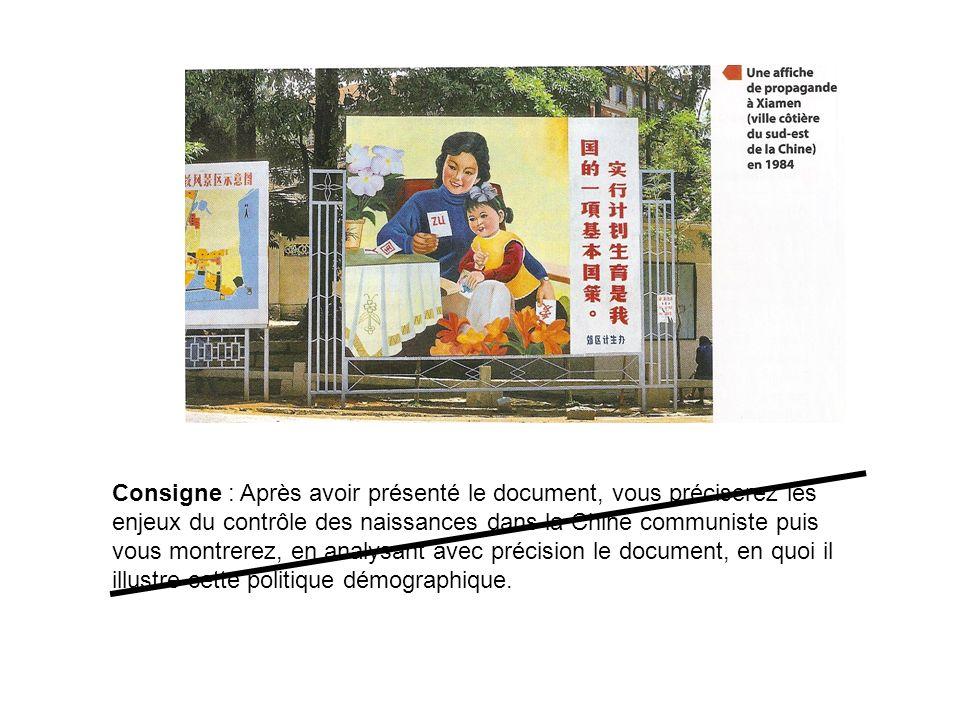 Consigne : Quels éléments de la politique démographique chinoise nous révèle ce document ?