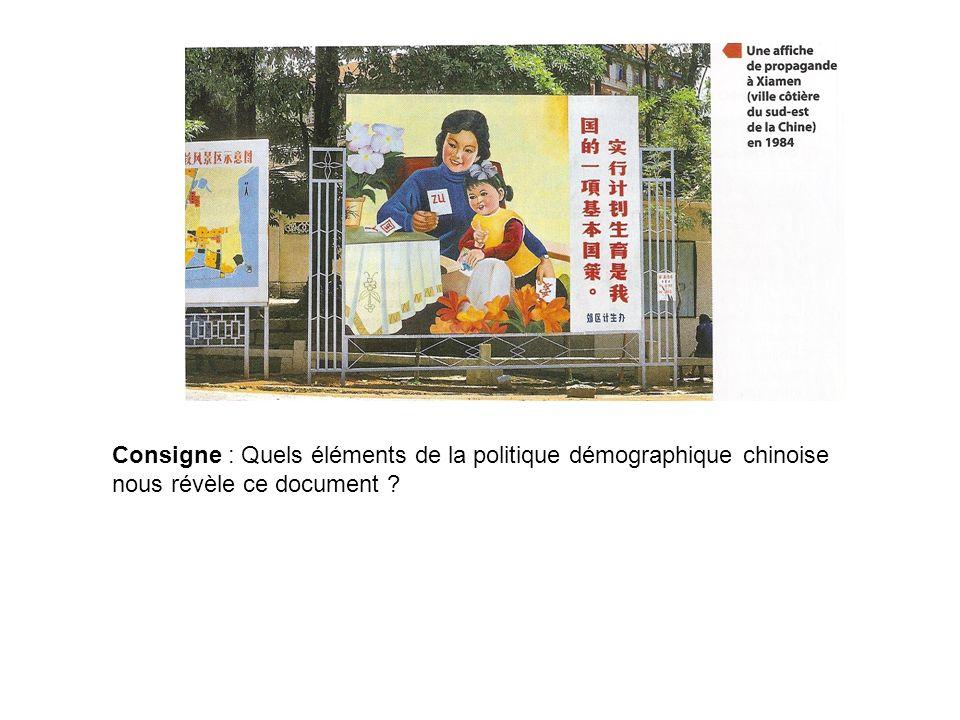 Consigne : Quels éléments de la politique démographique chinoise nous révèle ce document