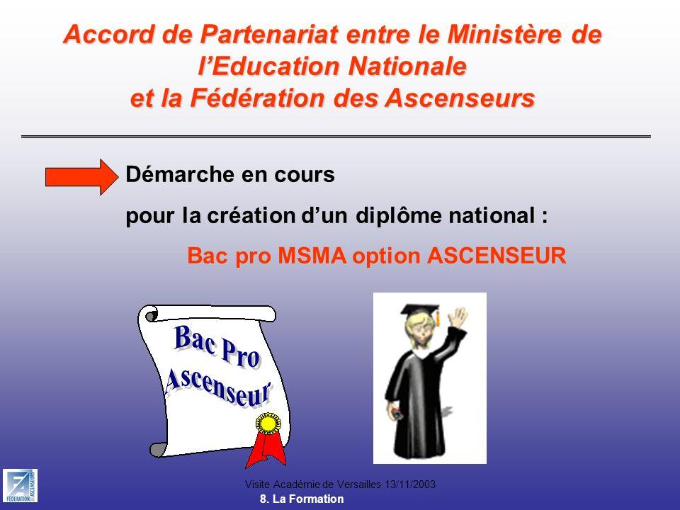 Accord de Partenariat entre le Ministère de lEducation Nationale et la Fédération des Ascenseurs Bac pro MSMA option ASCENSEUR Démarche en cours pour