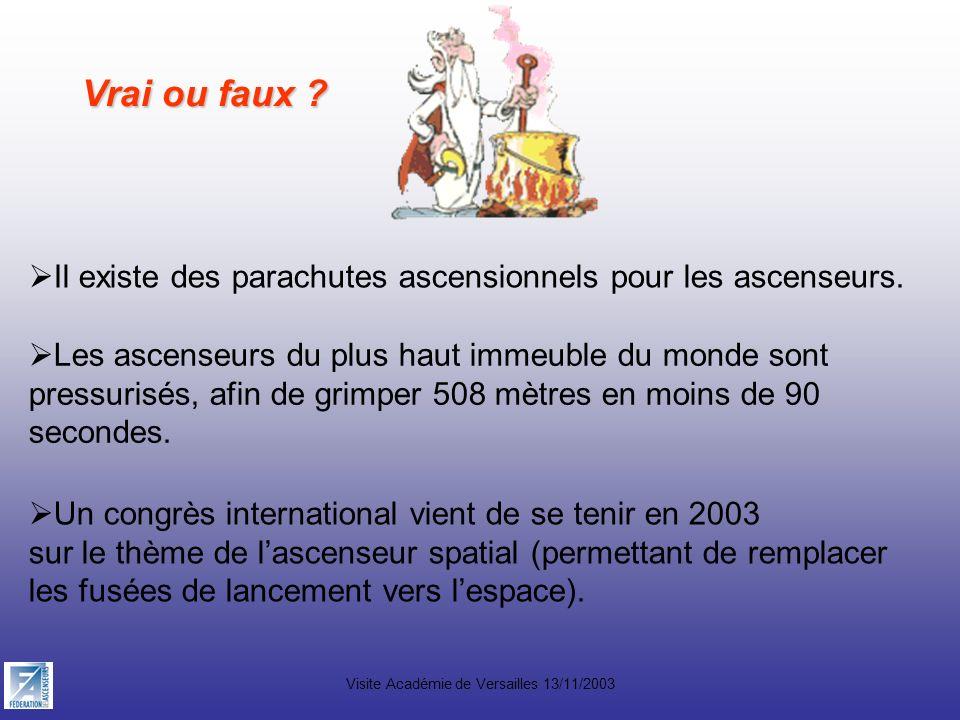 Visite Académie de Versailles 13/11/2003 Vrai ou faux ? Il existe des parachutes ascensionnels pour les ascenseurs. Les ascenseurs du plus haut immeub