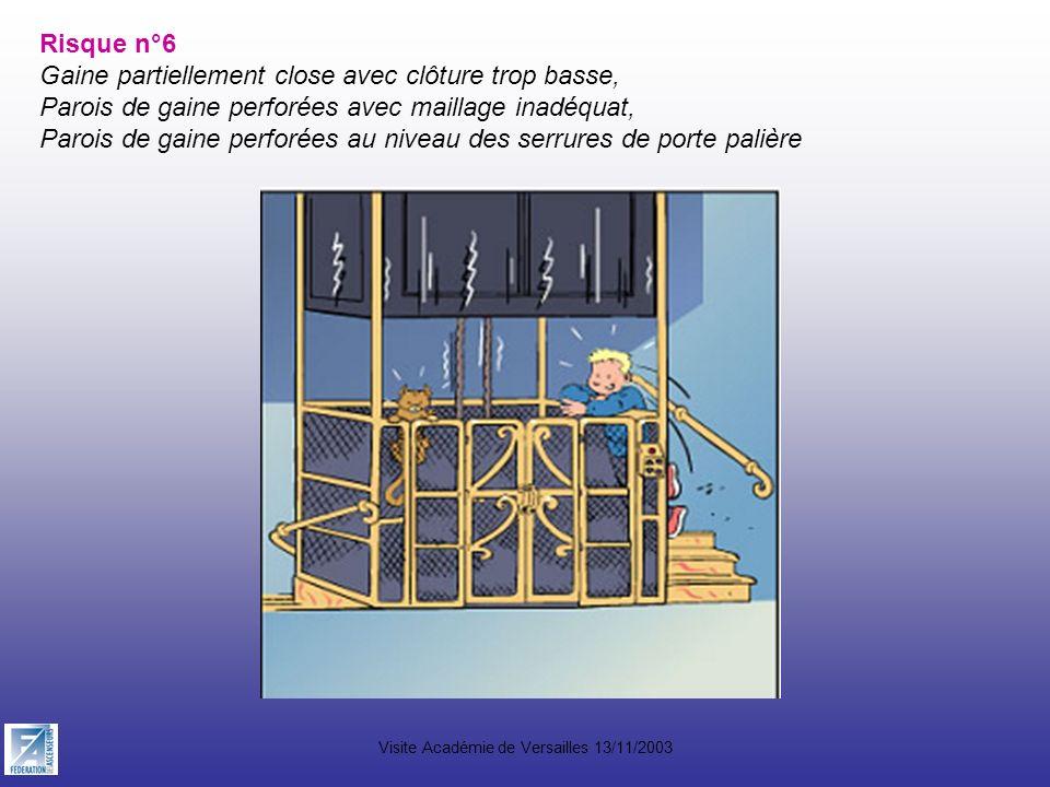 Visite Académie de Versailles 13/11/2003 Risque n°6 Gaine partiellement close avec clôture trop basse, Parois de gaine perforées avec maillage inadéqu