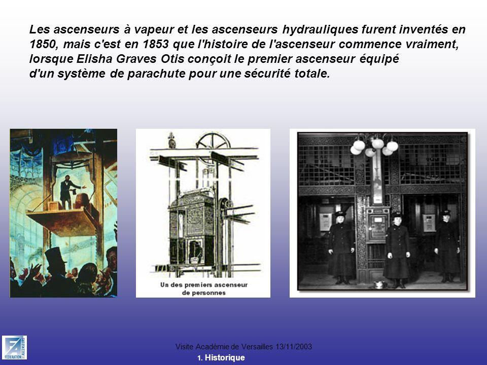 Visite Académie de Versailles 13/11/2003 Les ascenseurs à vapeur et les ascenseurs hydrauliques furent inventés en 1850, mais c'est en 1853 que l'hist