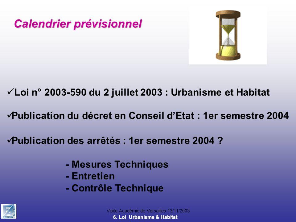Visite Académie de Versailles 13/11/2003 Calendrier prévisionnel Loi n° 2003-590 du 2 juillet 2003 : Urbanisme et Habitat Publication du décret en Con