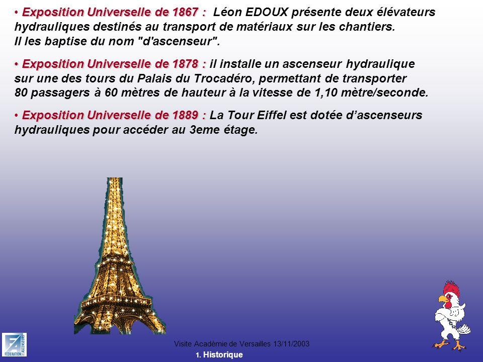 Visite Académie de Versailles 13/11/2003 Exposition Universelle de 1867 : Exposition Universelle de 1867 : Léon EDOUX présente deux élévateurs hydraul