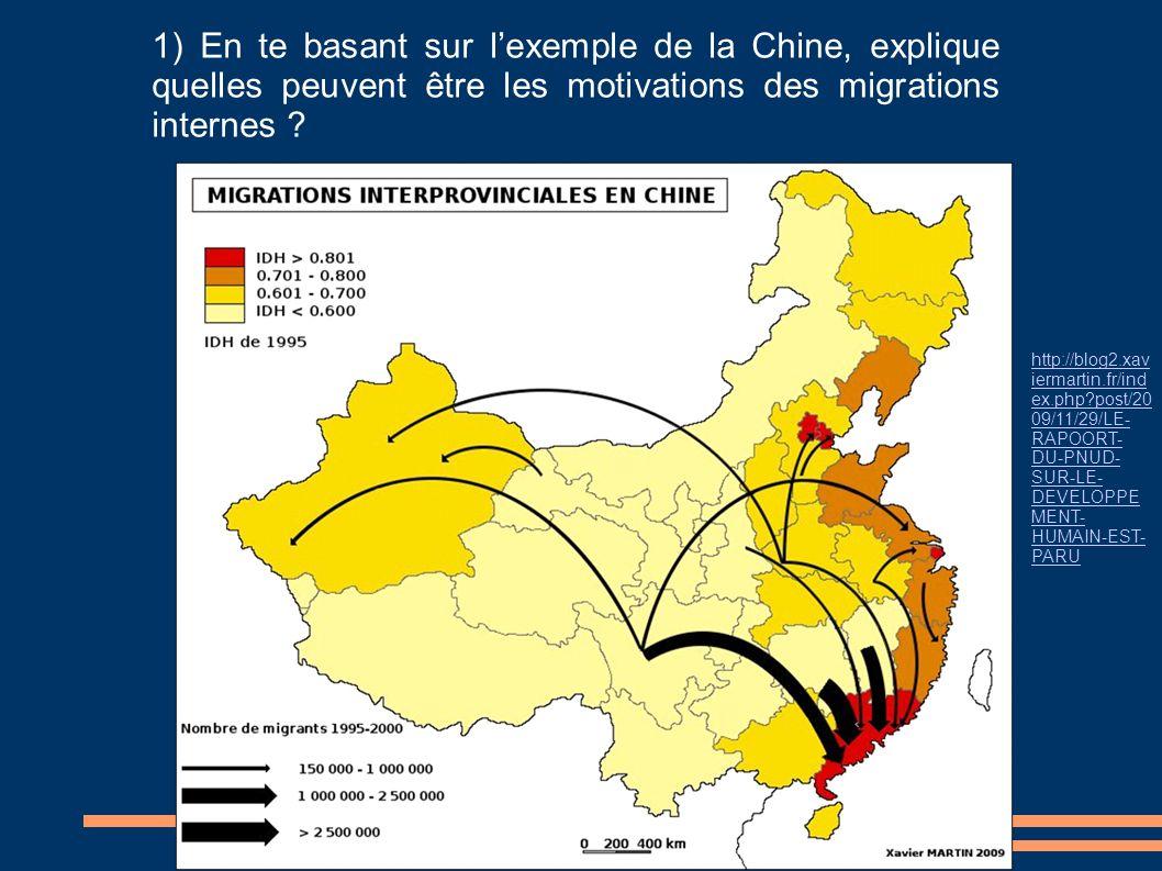 1) En te basant sur lexemple de la Chine, explique quelles peuvent être les motivations des migrations internes ? http://blog2.xav iermartin.fr/ind ex