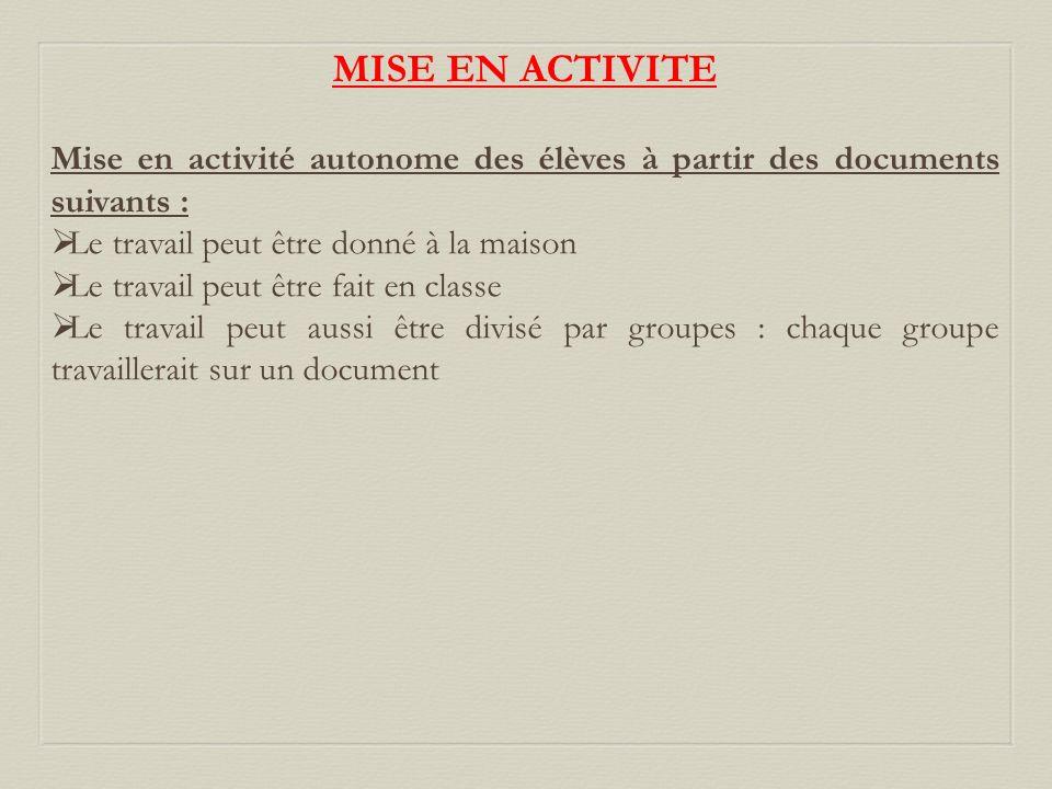 MISE EN ACTIVITE Mise en activité autonome des élèves à partir des documents suivants : Le travail peut être donné à la maison Le travail peut être fa