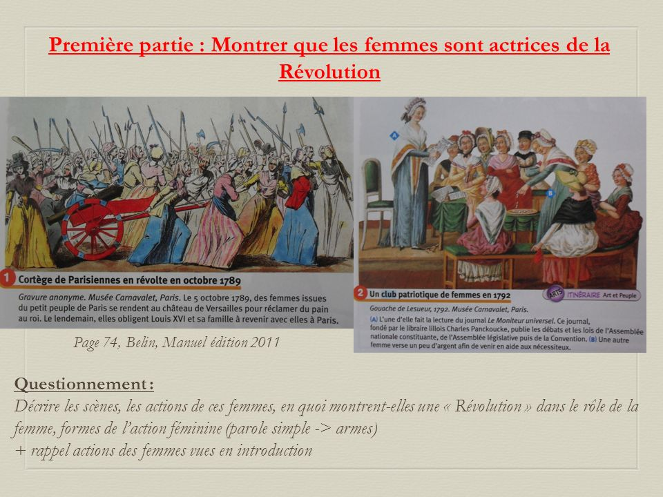 Première partie : Montrer que les femmes sont actrices de la Révolution Page 74, Belin, Manuel édition 2011 Questionnement : Décrire les scènes, les a