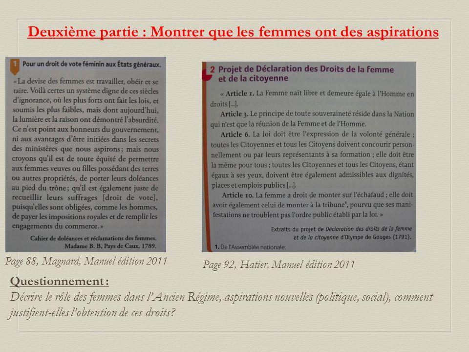 Deuxième partie : Montrer que les femmes ont des aspirations Page 88, Magnard, Manuel édition 2011 Questionnement : Décrire le rôle des femmes dans lA