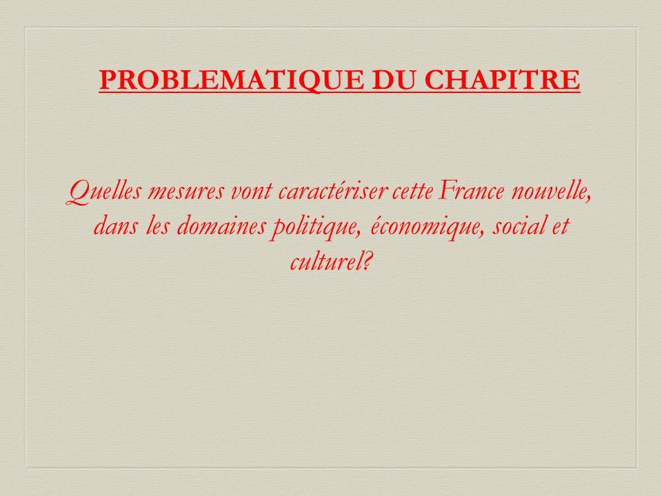 PROBLEMATIQUE DU CHAPITRE Quelles mesures vont caractériser cette France nouvelle, dans les domaines politique, économique, social et culturel?