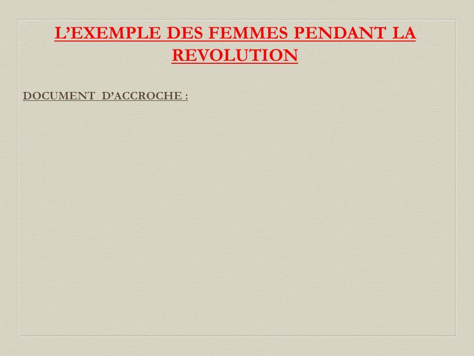 LEXEMPLE DES FEMMES PENDANT LA REVOLUTION DOCUMENT DACCROCHE :