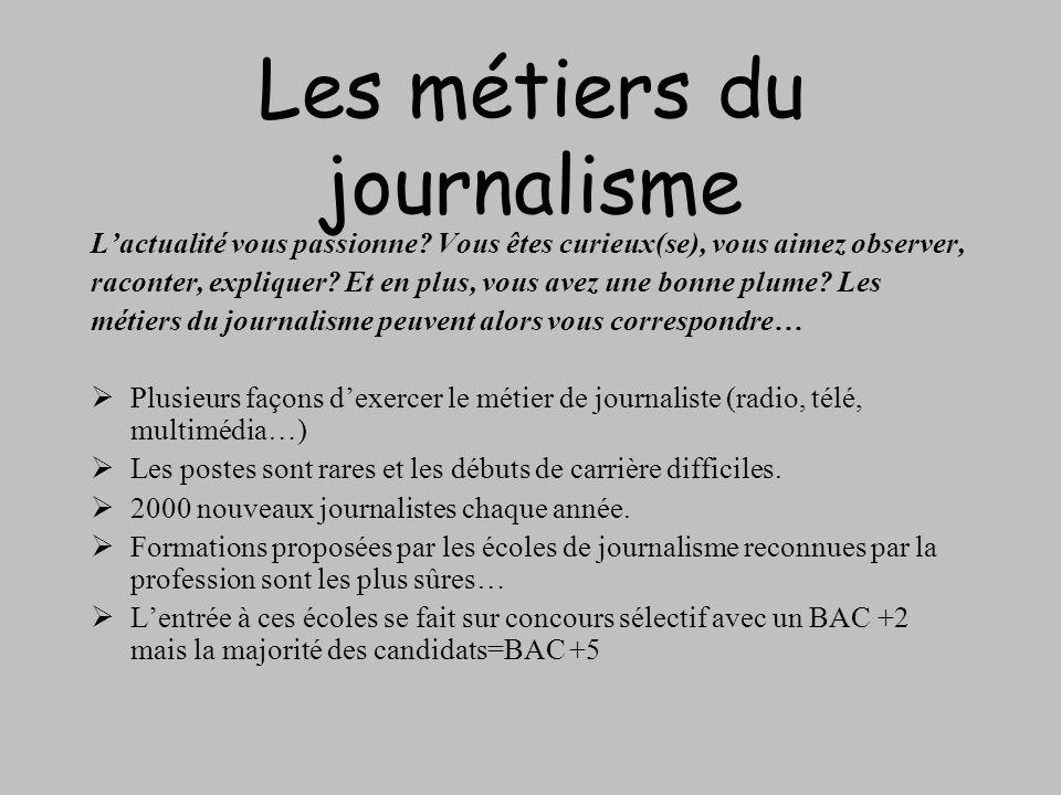 Les métiers du journalisme Lactualité vous passionne? Vous êtes curieux(se), vous aimez observer, raconter, expliquer? Et en plus, vous avez une bonne