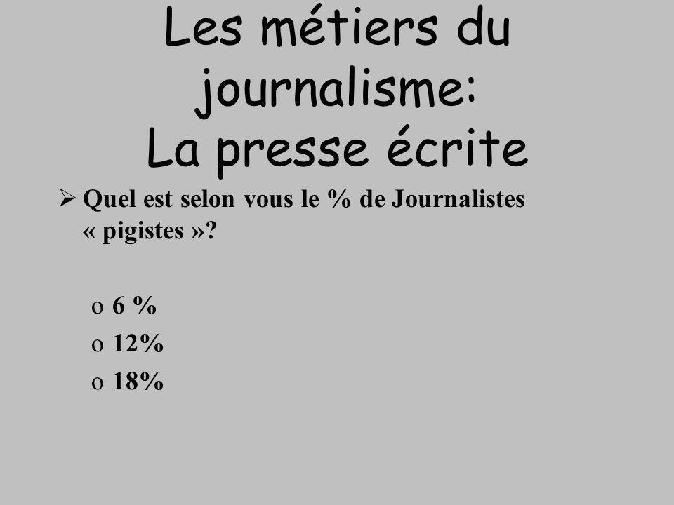 Les métiers du journalisme: La presse écrite Quel est selon vous le % de Journalistes « pigistes »? o6 % o12% o18%