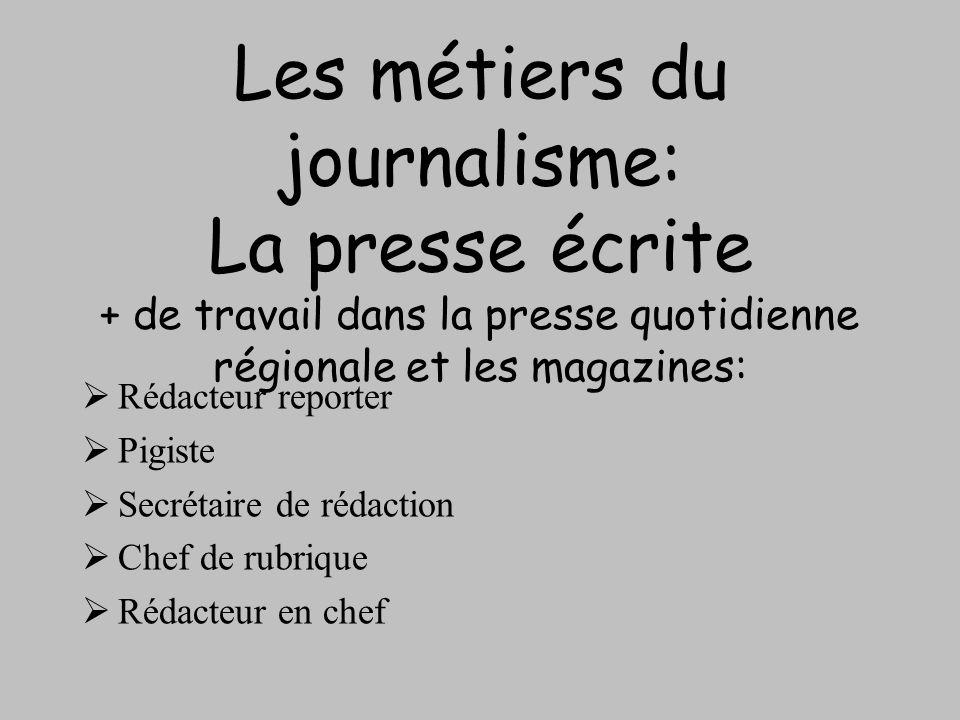 Les métiers du journalisme: La presse écrite + de travail dans la presse quotidienne régionale et les magazines: Rédacteur reporter Pigiste Secrétaire