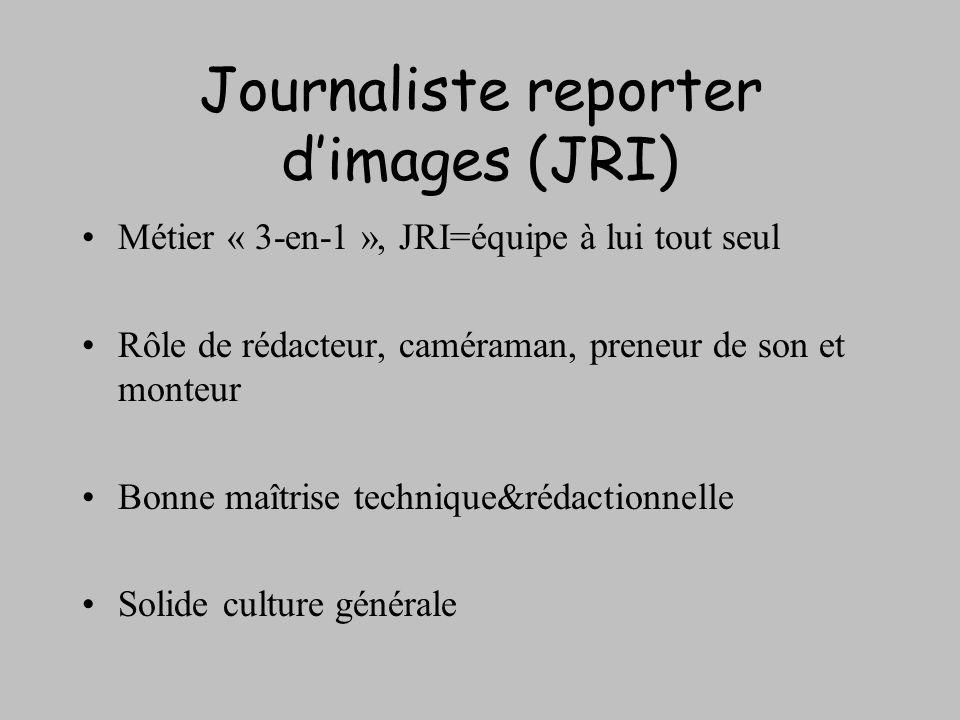Journaliste reporter dimages (JRI) Métier « 3-en-1 », JRI=équipe à lui tout seul Rôle de rédacteur, caméraman, preneur de son et monteur Bonne maîtris