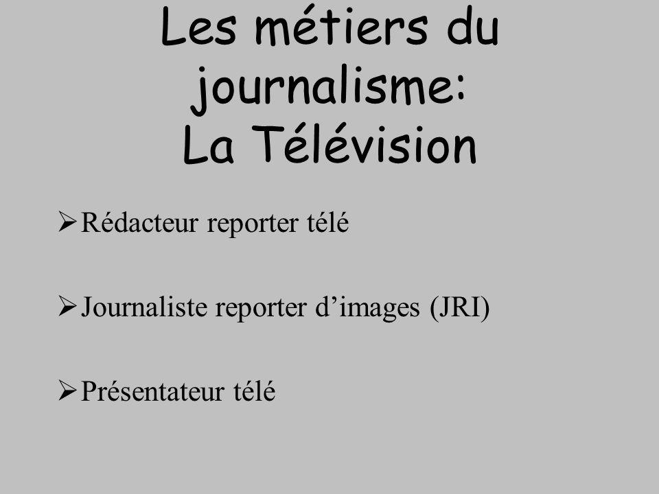 Les métiers du journalisme: La Télévision Rédacteur reporter télé Journaliste reporter dimages (JRI) Présentateur télé