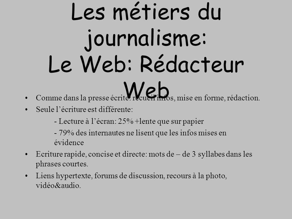 Les métiers du journalisme: Le Web: Rédacteur Web Comme dans la presse écrite: recueil infos, mise en forme, rédaction. Seule lécriture est différente