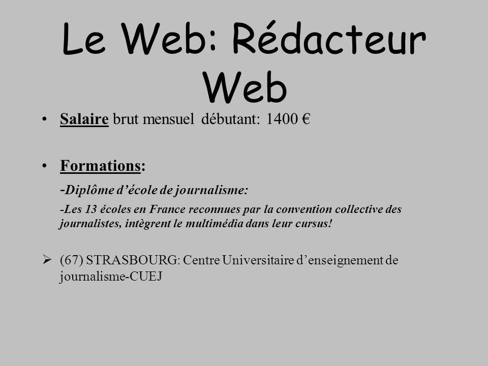 Le Web: Rédacteur Web Salaire brut mensuel débutant: 1400 Formations: - Diplôme décole de journalisme: -Les 13 écoles en France reconnues par la conve