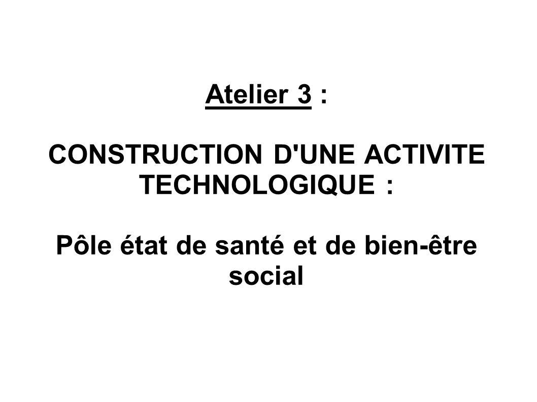 Atelier 3 : CONSTRUCTION D UNE ACTIVITE TECHNOLOGIQUE : Pôle état de santé et de bien-être social