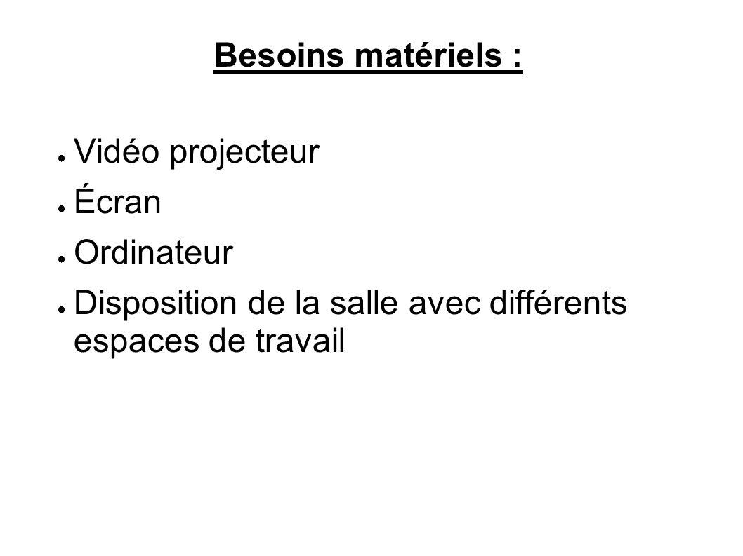 Besoins matériels : Vidéo projecteur Écran Ordinateur Disposition de la salle avec différents espaces de travail