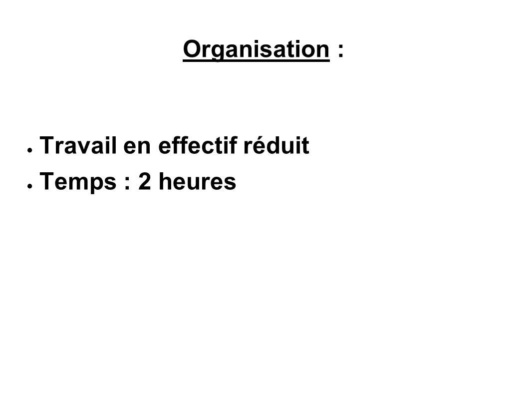 Organisation : Travail en effectif réduit Temps : 2 heures