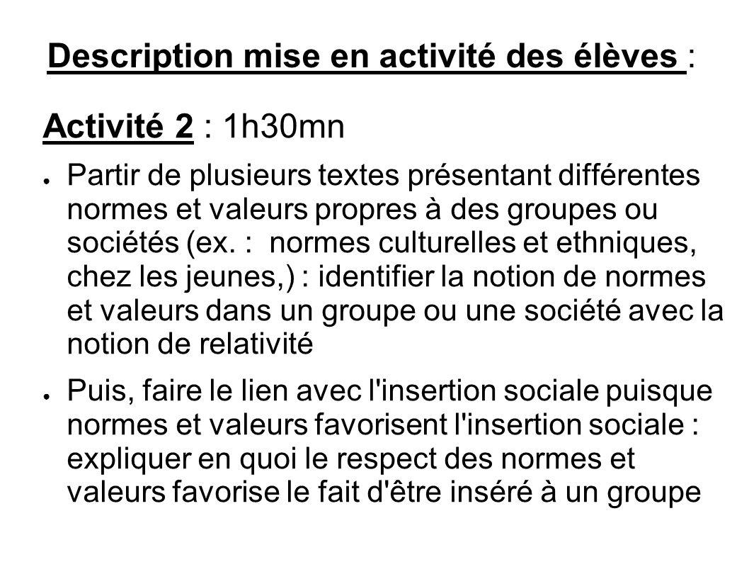 Description mise en activité des élèves : Activité 2 : 1h30mn Partir de plusieurs textes présentant différentes normes et valeurs propres à des groupe