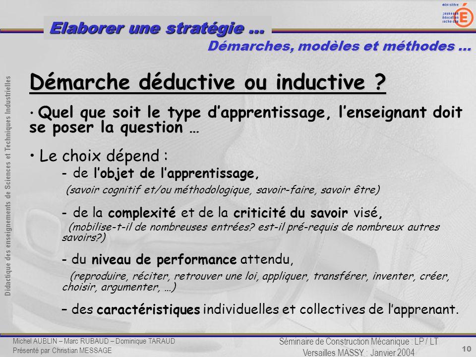 10 Didactique des enseignements de Sciences et Techniques Industrielles Séminaire de Construction Mécanique : LP / LT Versailles MASSY : Janvier 2004