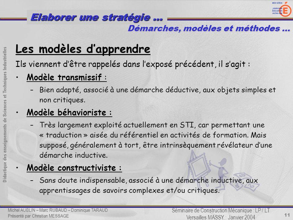 11 Didactique des enseignements de Sciences et Techniques Industrielles Séminaire de Construction Mécanique : LP / LT Versailles MASSY : Janvier 2004