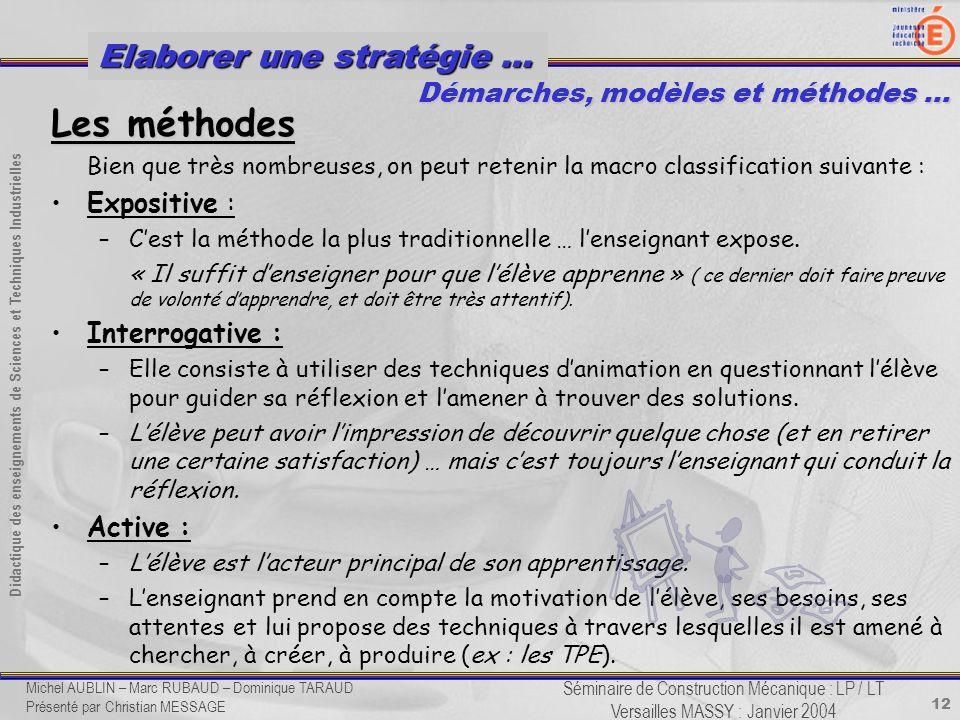 12 Didactique des enseignements de Sciences et Techniques Industrielles Séminaire de Construction Mécanique : LP / LT Versailles MASSY : Janvier 2004