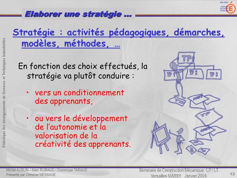 13 Didactique des enseignements de Sciences et Techniques Industrielles Séminaire de Construction Mécanique : LP / LT Versailles MASSY : Janvier 2004