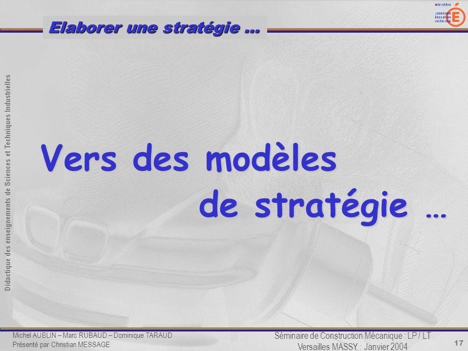 17 Didactique des enseignements de Sciences et Techniques Industrielles Séminaire de Construction Mécanique : LP / LT Versailles MASSY : Janvier 2004