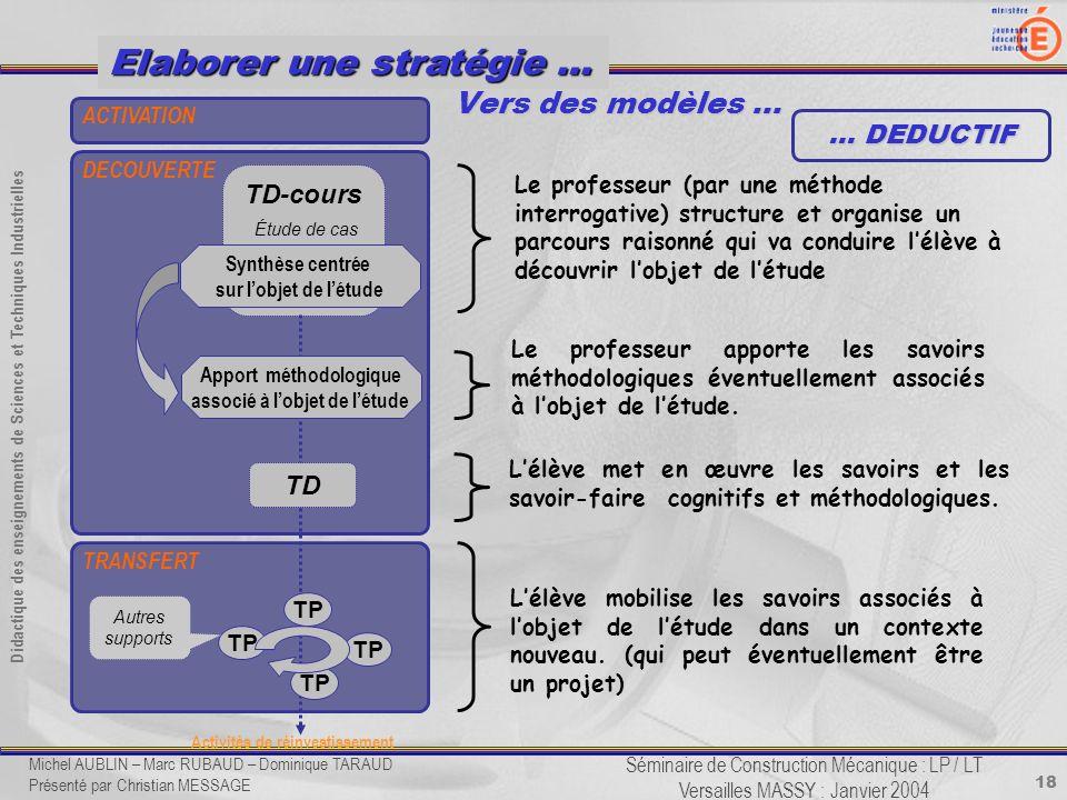 18 Didactique des enseignements de Sciences et Techniques Industrielles Séminaire de Construction Mécanique : LP / LT Versailles MASSY : Janvier 2004