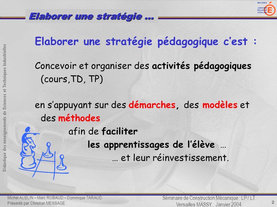 2 Didactique des enseignements de Sciences et Techniques Industrielles Séminaire de Construction Mécanique : LP / LT Versailles MASSY : Janvier 2004 E