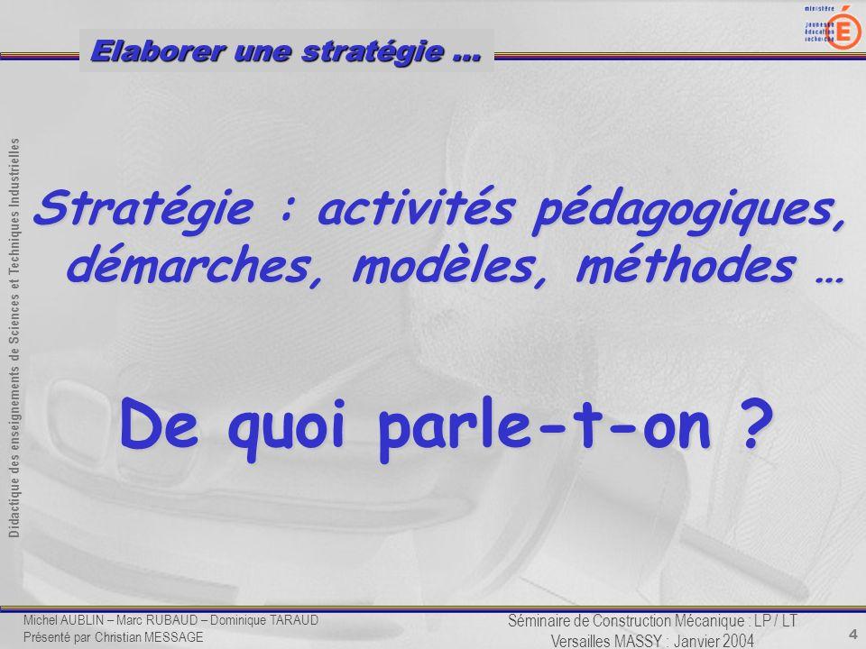 4 Didactique des enseignements de Sciences et Techniques Industrielles Séminaire de Construction Mécanique : LP / LT Versailles MASSY : Janvier 2004 E