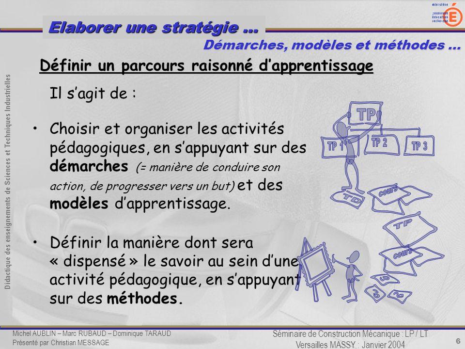 6 Didactique des enseignements de Sciences et Techniques Industrielles Séminaire de Construction Mécanique : LP / LT Versailles MASSY : Janvier 2004 E