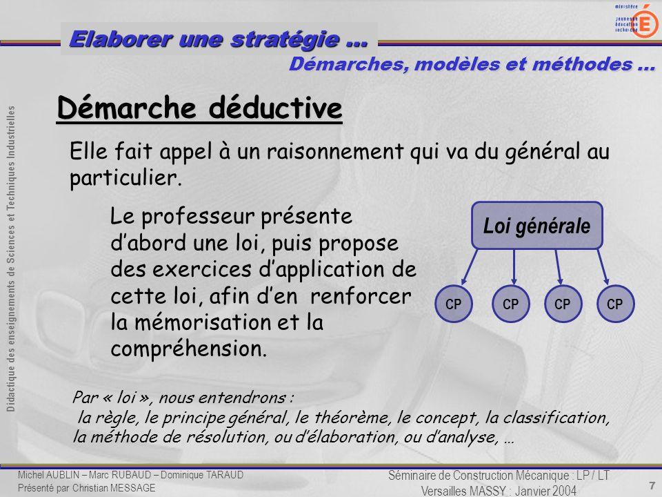 7 Didactique des enseignements de Sciences et Techniques Industrielles Séminaire de Construction Mécanique : LP / LT Versailles MASSY : Janvier 2004 E