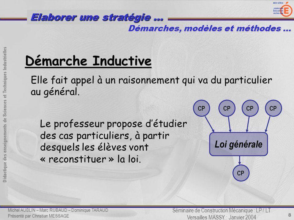 8 Didactique des enseignements de Sciences et Techniques Industrielles Séminaire de Construction Mécanique : LP / LT Versailles MASSY : Janvier 2004 E