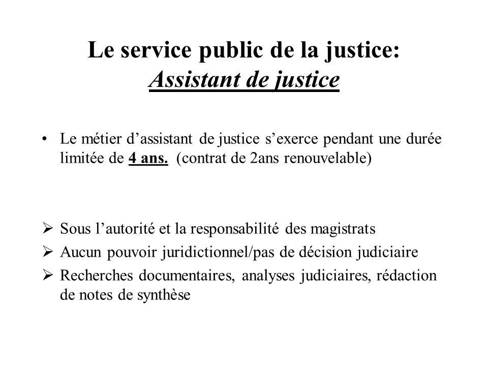 Le service public de la justice: Assistant de justice Le métier dassistant de justice sexerce pendant une durée limitée de 4 ans. (contrat de 2ans ren