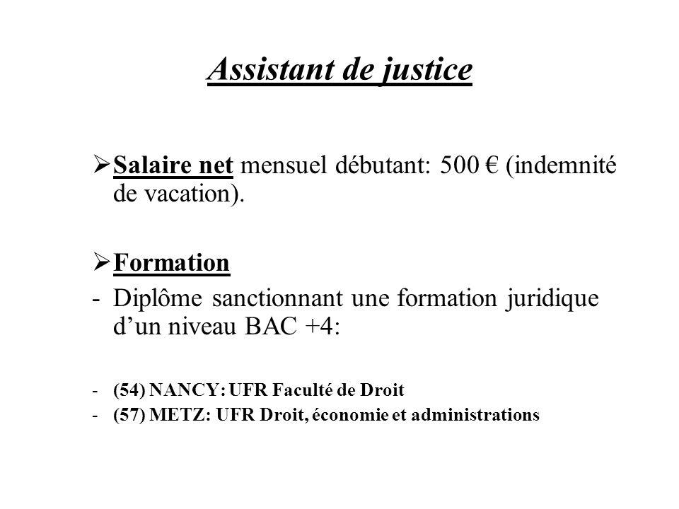 Assistant de justice Salaire net mensuel débutant: 500 (indemnité de vacation). Formation -Diplôme sanctionnant une formation juridique dun niveau BAC