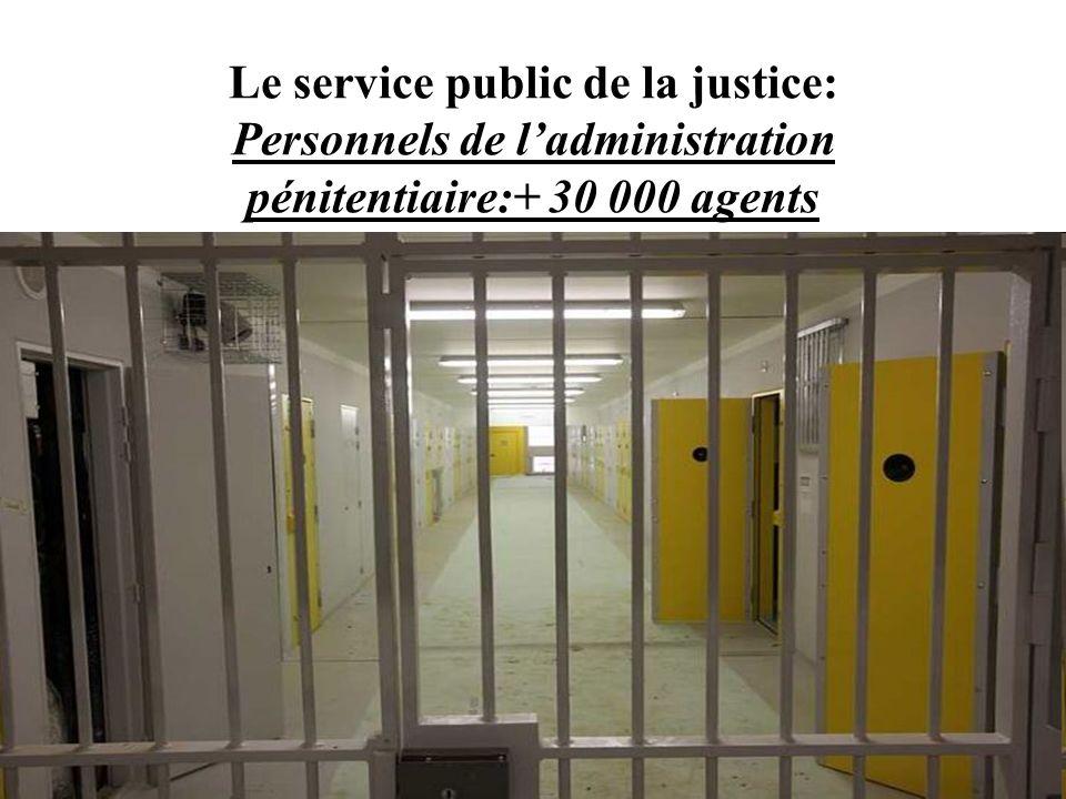 Le service public de la justice: Personnels de ladministration pénitentiaire:+ 30 000 agents
