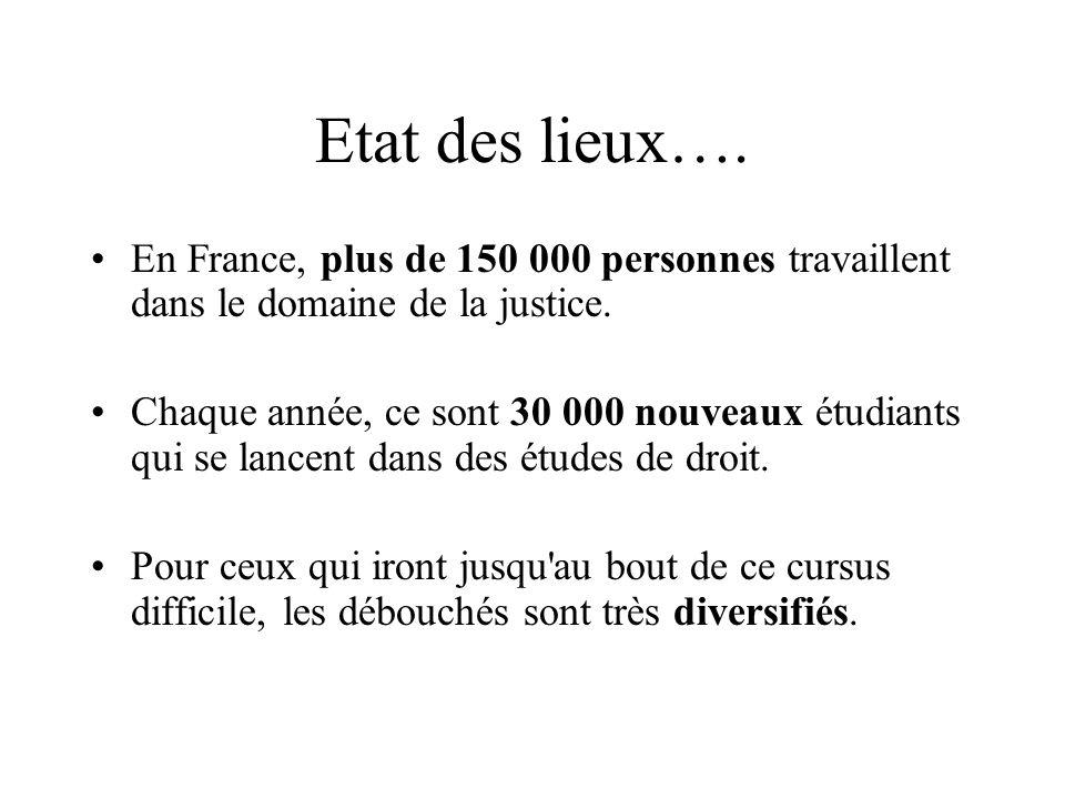 Etat des lieux…. En France, plus de 150 000 personnes travaillent dans le domaine de la justice. Chaque année, ce sont 30 000 nouveaux étudiants qui s