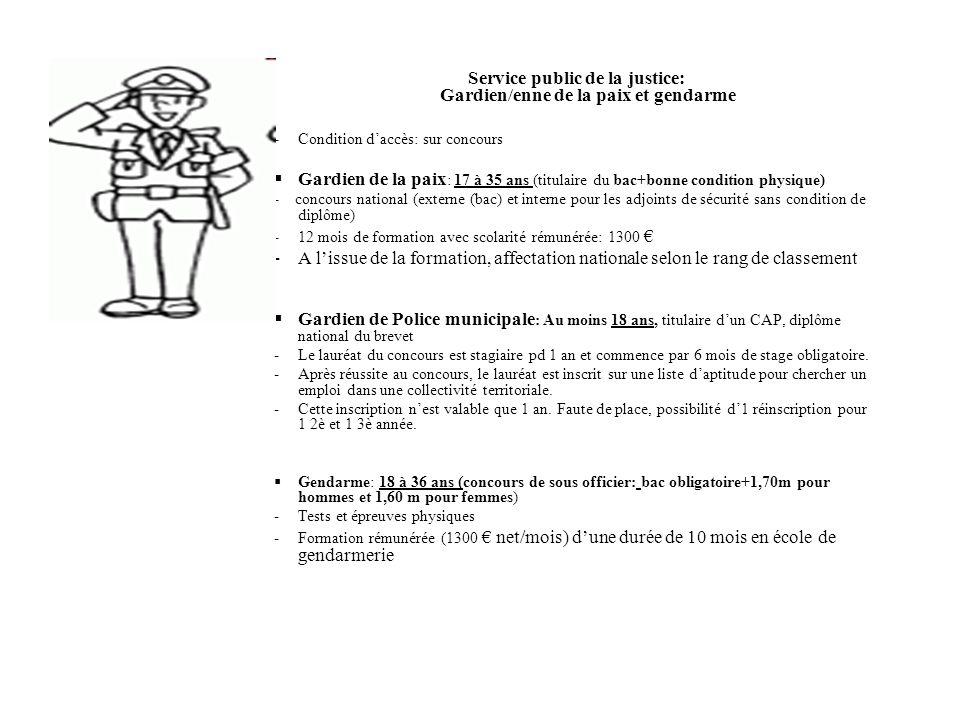 Service public de la justice: Gardien/enne de la paix et gendarme -Condition daccès: sur concours Gardien de la paix : 17 à 35 ans (titulaire du bac+b