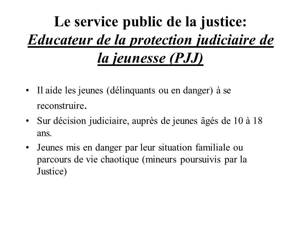 Le service public de la justice: Educateur de la protection judiciaire de la jeunesse (PJJ) Il aide les jeunes (délinquants ou en danger) à se reconst