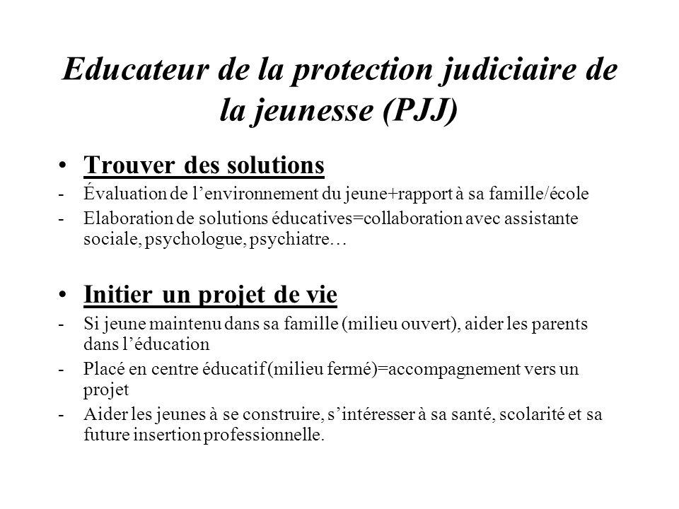 Educateur de la protection judiciaire de la jeunesse (PJJ) Trouver des solutions -Évaluation de lenvironnement du jeune+rapport à sa famille/école -El