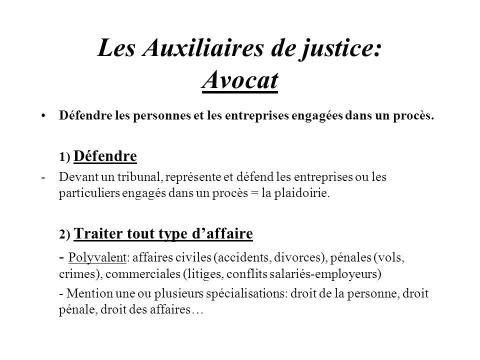Les Auxiliaires de justice: Avocat Défendre les personnes et les entreprises engagées dans un procès. 1) Défendre -Devant un tribunal, représente et d