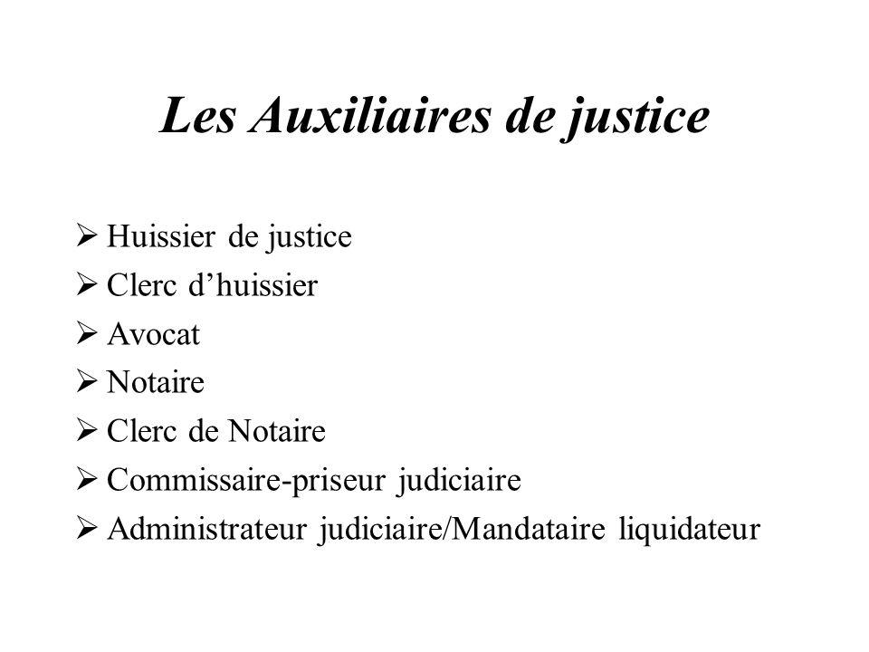 Les Auxiliaires de justice Huissier de justice Clerc dhuissier Avocat Notaire Clerc de Notaire Commissaire-priseur judiciaire Administrateur judiciair