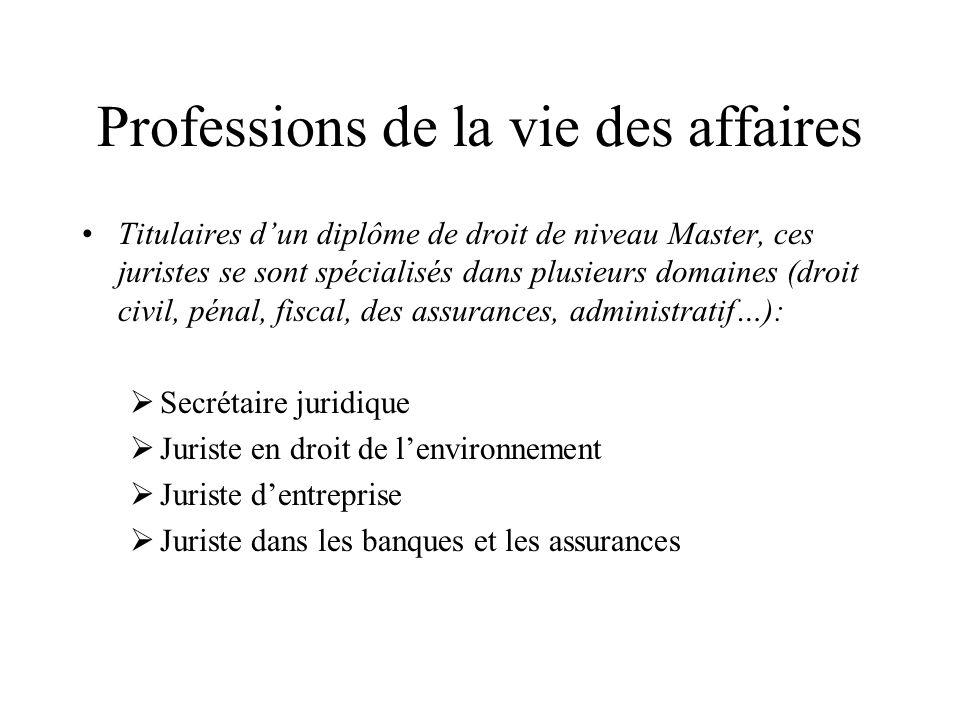 Professions de la vie des affaires Titulaires dun diplôme de droit de niveau Master, ces juristes se sont spécialisés dans plusieurs domaines (droit c