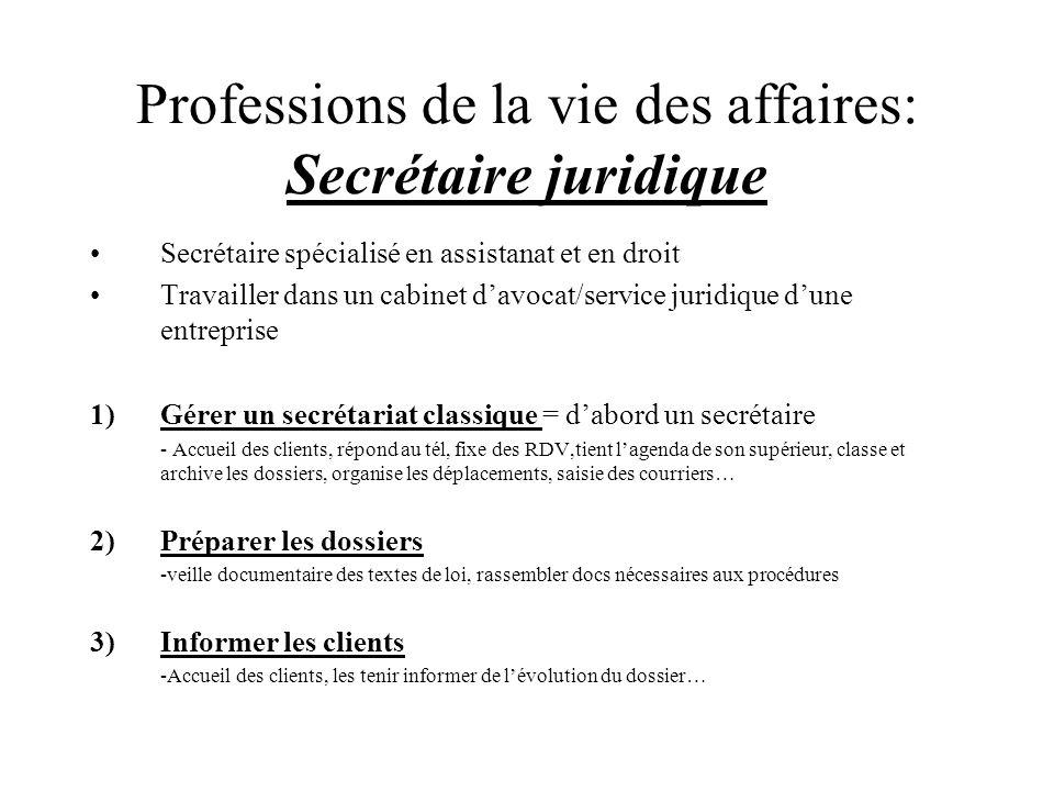 Professions de la vie des affaires: Secrétaire juridique Secrétaire spécialisé en assistanat et en droit Travailler dans un cabinet davocat/service ju