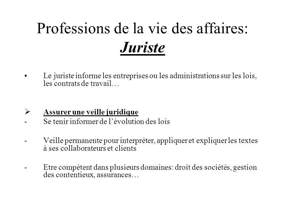 Professions de la vie des affaires: Juriste Le juriste informe les entreprises ou les administrations sur les lois, les contrats de travail… Assurer u
