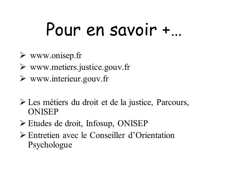 Pour en savoir +… www.onisep.fr www.metiers.justice.gouv.fr www.interieur.gouv.fr Les métiers du droit et de la justice, Parcours, ONISEP Etudes de dr